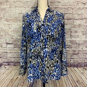 Talbots Nantucket Print Buttoned Front Blouse